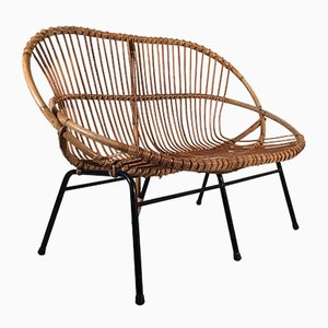 Rattan Loveseat from Rohé Noordwolde, 1960s