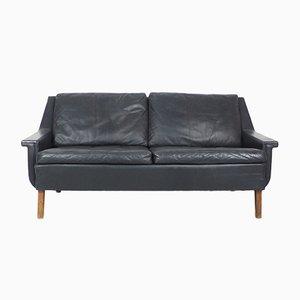 Dänisches Schwarzes Leder & Palisander Sofa, 1960er