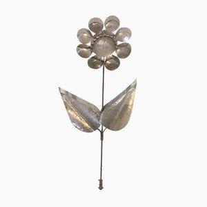 Vintage Blumen Wandleuchte aus Metall
