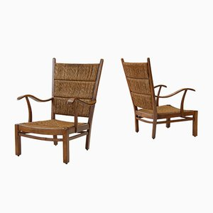 Dutch Oak & Straw High Back Armchairs by Bas van Pelt, 1940s, Set of 2