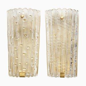 Lámparas de pared suecas vintage de cristal de Orrefors, años 60. Juego de 2