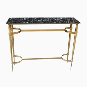 Vintage Italian Brass & Glass Console Table, 1950s
