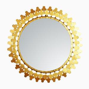 Vintage Metal Clover Sunburst Mirror, 1960s