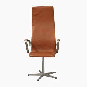 Vintage Cognac Leather Oxford Swivel Chair by Arne Jacobsen for Fritz Hansen