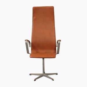 Poltrona Oxford girevole vintage in pelle color cognac di Arne Jacobsen per Fritz Hansen