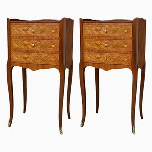 Tulip Wood Nightstands, 1940s, Set of 2