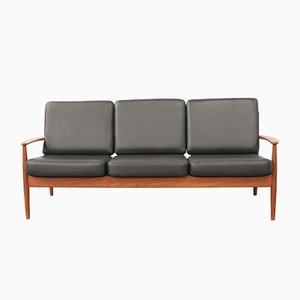 Vintage Teak & Leather 3-Seater Sofa by Grete Jalk for France & Søn