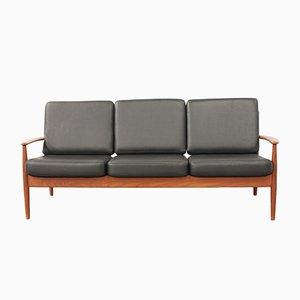 Vintage Teak & Leder 3-Sitzer Sofa von Grete Jalk für France & Søn