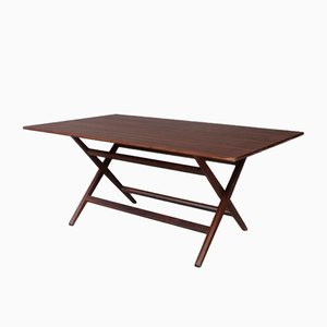 Mid-Century Walnut Foldable Trestle Table by Franco Albini, 1950s