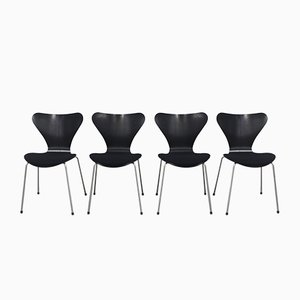 Vintage Black 3107 Chairs by Arne Jacobsen for Fritz Hansen, 2007, Set of 4