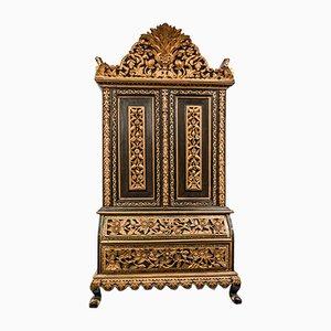Antiker Anglo-Indischer Schrank aus Geschnitztem und Vergoldetem Holz