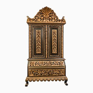 Antique Anglo-Indian Carved and Gilded Wood Cabinets