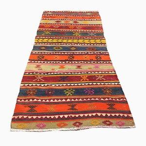 Alfombra de pasillo Kilim turca vintage, años 70