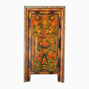 Antiker tibetischer Polychrom Schrank