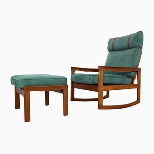 Blue Velvet Rocking Chair & Footstool Set by Ole Wanscher for Komfort, 1960s