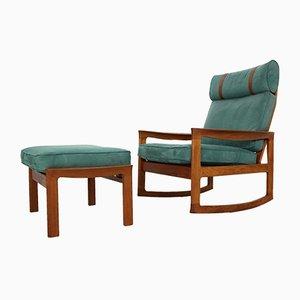 Rocking Chair et Repose-Pieds en Velours Bleu par Ole Wanscher pour Komfort, 1960s