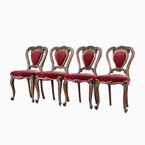 Antike französische Esszimmerstühle aus Mahagoni, 4er Set