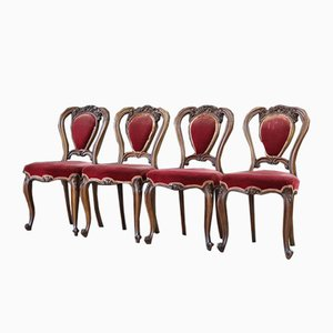 Antique French Mahogany Dining Chairs, Set of 4