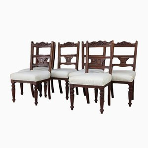 Antique Victorian Walnut Dining Chairs, Set of 6