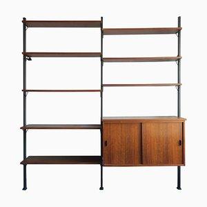 Libreria modulare in teak e metallo di Olof Pira, anni '60