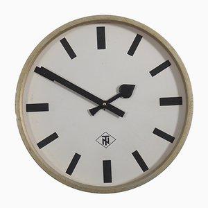 Reloj de estación o fábrica industrial vintage grande de Telefonbau Und Normalzeit, años 60