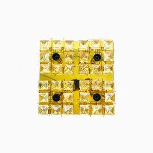 Lampada a incasso in ottone dorato e cristallo di Palwa, anni '60