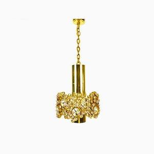 Hängelampe aus vergoldetem Messing & Kristallglas von Palwa, 1960er