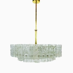 Mid-Century German Brass & Crystal Chandelier from Doria Leuchten, 1960s