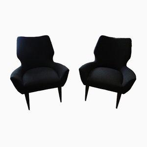 Schwarze Italienische Vintage Sessel, 1960er, 2er Set