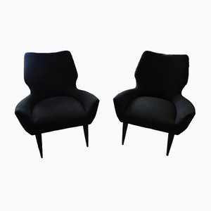 Vintage Italian Black Lounge Chairs, 1960s, Set of 2