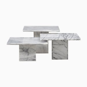 Italian Marble Side Tables, 1970s, Set of 3