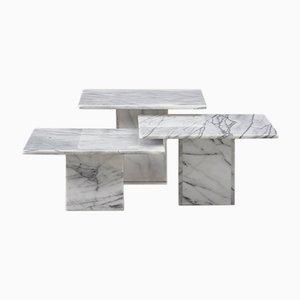 Tavolini in marmo, Italia, anni '70, set di 3