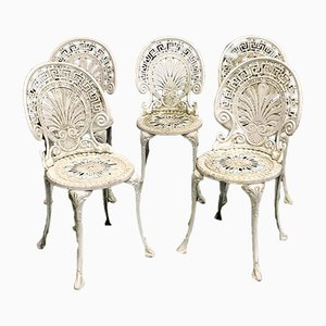English Wrought Iron Garden Chairs, 1980s, Set of 5