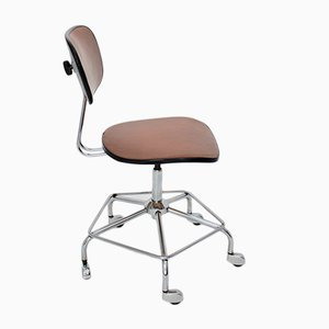 German Chrome Plated Brown Swivel Chair, 1950s