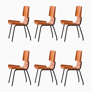 Italian Teak Dining Chairs, 1950s, Set of 6