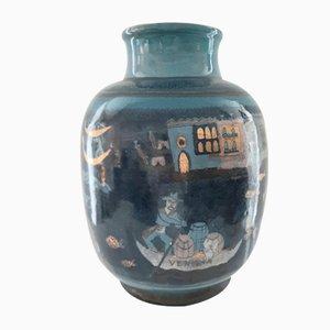 Ceramic Gondola Vase by Charles et Hélène Imbert, 1920s