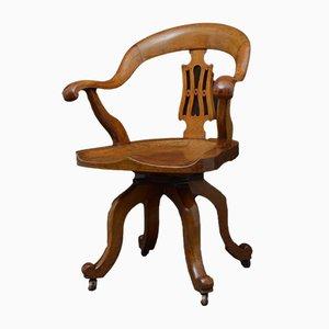 Sedia da scrivania vittoriana antica in quercia
