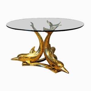 Brass Dolphin Coffee Table, 1970s