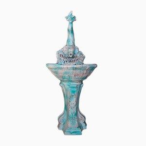 Fontaine de Jardin Vintage en Céramique Bleue de Céramique Vallauris, 1970s