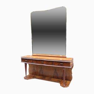 Mesa consola italiana vintage de madera nudosa de nogal y vidrio con espejo, años 50