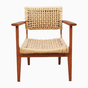 Armlehnstuhl aus Holz & Geflochtenem Seil von Adrien Audoux & Frida Minet, 1960er