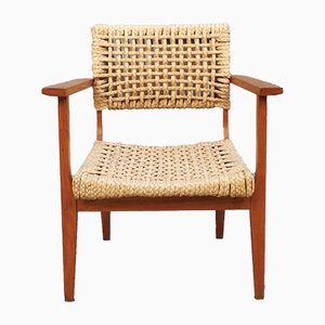 Wooden and Braided Rope Armchair by Adrien Audoux & Frida Minet, 1960s