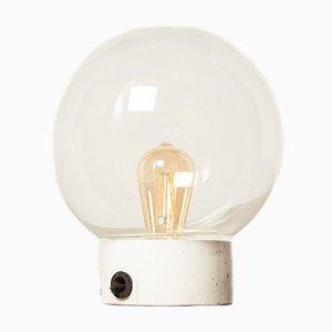 Durchsichtige Handgeblasene Glaskugel Deckenlampe, 1920er