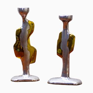 Brutalist Aluminium and Cast Brass Candleholders by David Marshall, 1970s, Set of 2