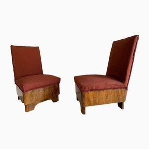 Beistellstühle aus Nussholz, 1930er, 2er Set