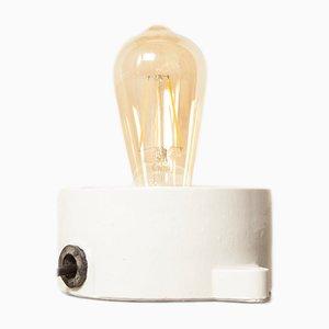 Lámpara de techo o pared industrial vintage de porcelana blanca, años 20