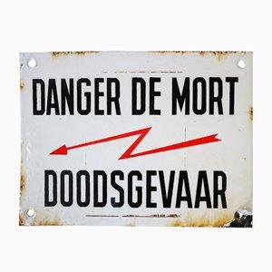 Letrero Doodsgevaar belga esmaltado, años 30