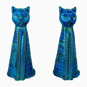 Rimini Blue Ceramic Cats by Aldo Londi for Bitossi, 1960s, Set of 2