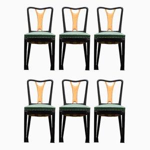 Sedie da pranzo in acero e similpelle verde, anni '30, set di 6