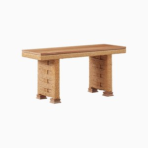 Vintage French Low Rope Console Table by Adrien Audoux & Frida Minet for Vibo